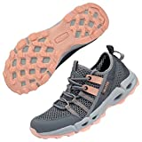 MAINCH Women's Hiking Water Shoes Quick Dry Outdoor Sport Sneakers (Pink, Size 9)