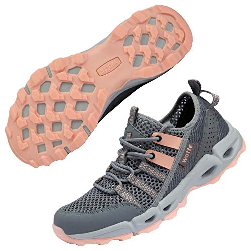 MAINCH Women's Hiking Water Shoes Quick Dry Outdoor Sport Sneakers (Pink, Size 9.5)