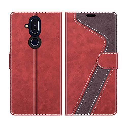 MOBESV Handyhülle für Nokia 8.1 Hülle Leder, Nokia 8.1 Klapphülle Handytasche Hülle für Nokia 8.1 Handy Hüllen, Modisch Rot