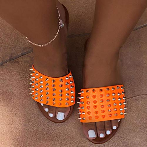 QINYUP Sommer Flach Drag Sandalen Männlich Europäische und amerikanische Sandalen Nails Hausschuhe Strand,A,38