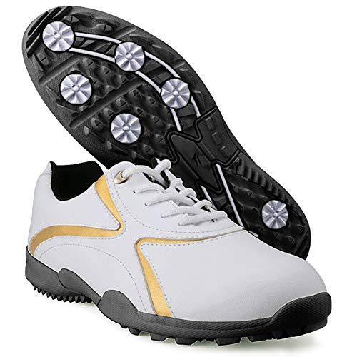 CGBF -Zapatos de golf casuales para hombre, zapatillas sin puntas, ligeras, impermeables, antideslizantes, zapatos deportivos de microfibra de cuero de material de cuero para correr, White, 39 1/3 EU