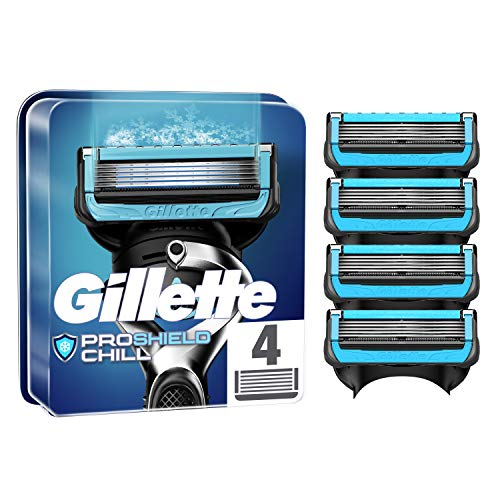 Gillette ProShield Chill Cuchillas de Afeitar Hombre, Paquete de 4 Cuchillas de Recambio