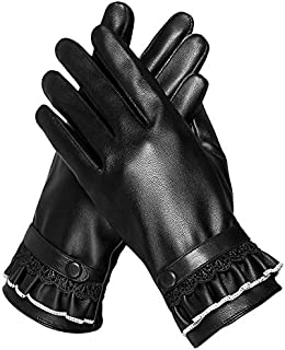 Ladies Leather Gloves Womens Soft Warm Velvety Lining Winter Gloves Touch Screen Mittens with One Leather Belt Decoration (Black)