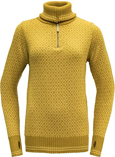Devold Damen Pullover Slogen Zip Neck Arrowwood gelb - S