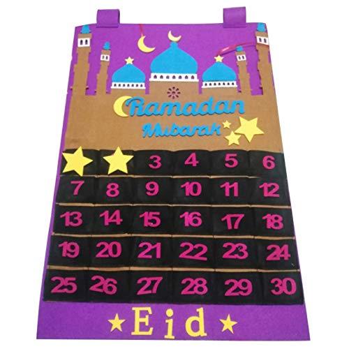 BRAND NEWS Eid Mubarak Filzkalender, Mubarak Hanging Countdown Calendar Adventskalender 2021 Ramadan Dekorationen mit 30 Kleiner Ladentasche und Sternaufkleber für Eid Mubarak Dekoration