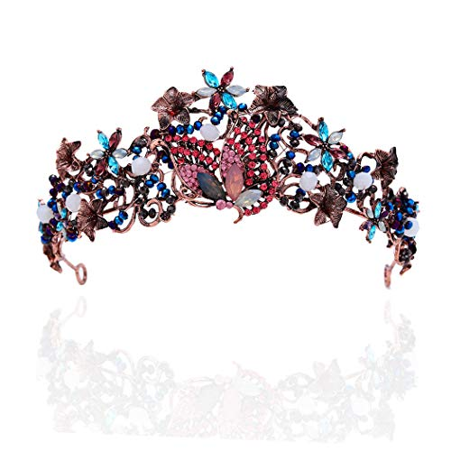 Campsis Baroque Wedding Crown Butterfly Bride Headband Floral Tiara Bridal Hair Accessories for Women and Girls