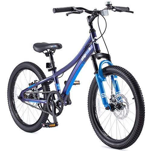 Royalbaby Boys Girls Kids Bike Explorer 20 Inch Bicycle for 7-12 Years Old Front Suspension Aluminum Child's Cycle with Disc Brakes Blue (Renewed)