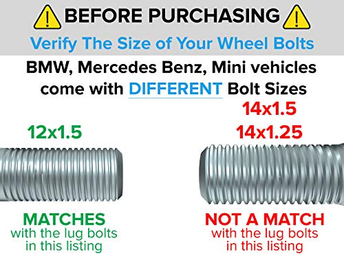 4pcs Locking Spline Silver 12x1.5 Lug Bolts with Socket Key (26mm OEM Length, Cone Seat) Compatible with BMW 128i 135i 318i 320i 325i 328i 335i M3 528i 530i 535i M5 Z4 E36 E46 E60 E90 E92 E93