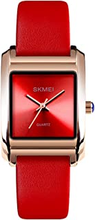 Dress Watch for Women Business Casual Square Watch with Red Leather Strap