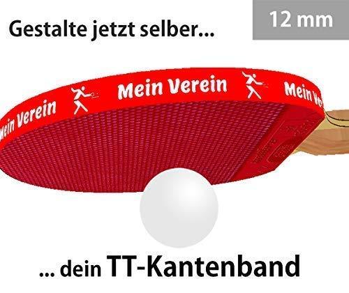 3 STK. Tischtennis Kantenband 12 mm rot mit eigenem Text