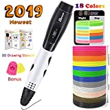TIPEYE 3D Pen with 18 Colors 10 Feet Each Total 180 Feet PLA Filament Refills 2019 Newest Version, Finger...