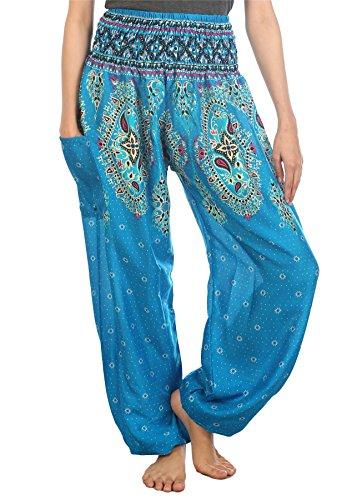 Lofbaz Damen Haremshose mit gesmoktem Bund Floral Hellblau S