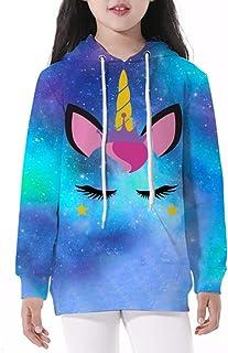 GLUDEAR Teen Boys' Girls' 3D Galaxy Unicorn Print Sweatshirts Pocket Pullover Hoodies Fit 5-12Y
