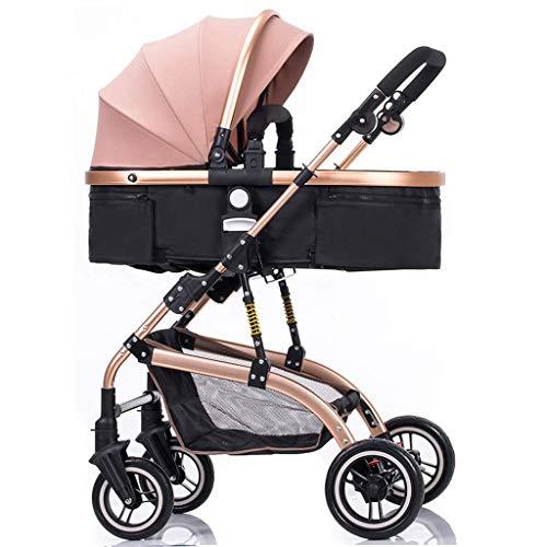 Kinderwagen Baby-Regenschirm-Spaziergänger mit sicheren Hosenträgergurtsystemen und Brems Infant Pram mit Shock-Resistant Bassinet Kinderwagen mit verstellbarer Rückenlehne Faltbare Anti-Schock-High V