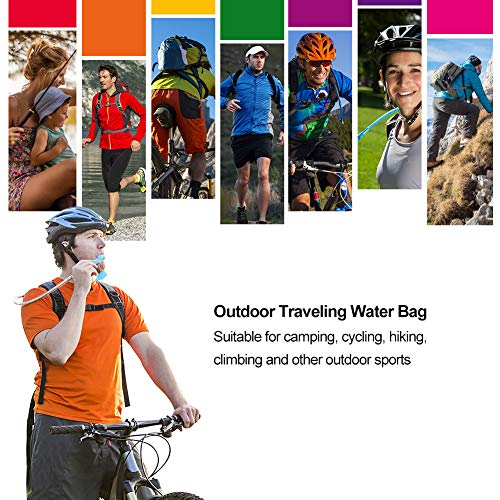 Kuyou Hydration Bladder 2 Litre Water Reservoir, Upgraded Leak Proof Water Bladder Hydration Pack Replacement with Quick Release Insulated Tube and Auto Shut-Off Valve for Climbing Cycling Running
