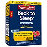 Nature Made Back to Sleep, Melatonin 1mg Fast Dissolve, Helps You Fall Back to Sleep Naturally, L-Theanine and GABA to Help Relax and Calm Your Mind, Berry, 40 Count