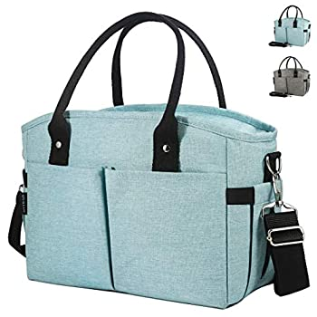 Lunch Box Large Lunch Bag Thermal Cooling Tote Insulated Lunch Bags with Shoulder Strap for Women Men Adults Kids College Work Picnic Hiking Beach Fishing  Cyan