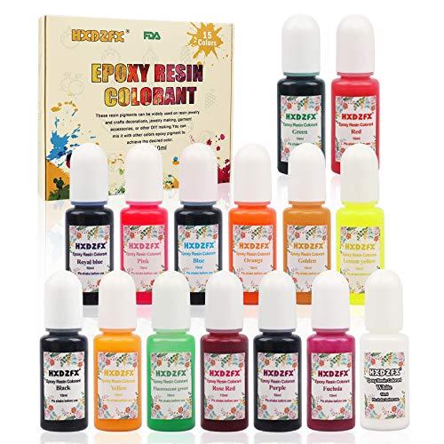 Colorante de resina epoxi HXDZFX de 15 colores, pigmento tra