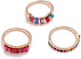 Women's Rainbow Rings Colorful Diamond ring retro 3-piece ring