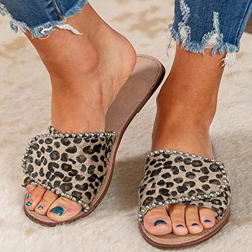 JFFFFWI Sandalias de Mujer Cuñas Zapatillas Sandalias de Mujer Sandalias de Verano Sandalias con Plantilla de Punta Abierta para Mujer Zapatos de Plataforma con Chanclas de Playa Sandalias de leopar