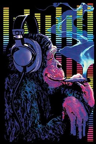 Pyramid America Funky Monkey UV Black Light Blacklight Smoking Headphones Blacklight Poster 24x36 inch