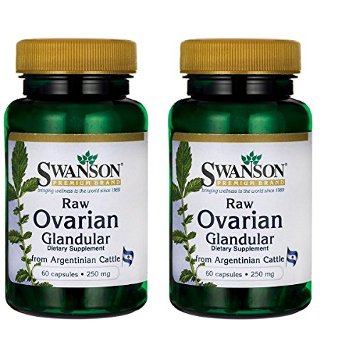 Swanson Premium Raw Ovarian Glandular 250mg (2 Bottles each of 60 Capsules)