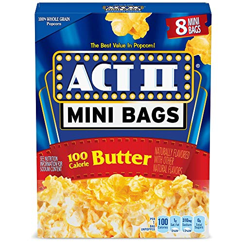 ACT II 100 Calorie Butter Microwave Popcorn, 8-Count 1.1-oz. Mini Bags