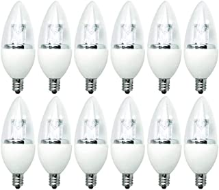 TCP 25 Watt LED B11, 12 Pack, Daylight, Clear Candelabra Base, Chandelier Light Bulbs