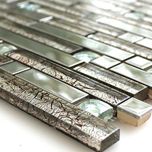 Edelstahl Mosaik Fliesen Glasmosaik Metall-Mosaik Diamant Silber