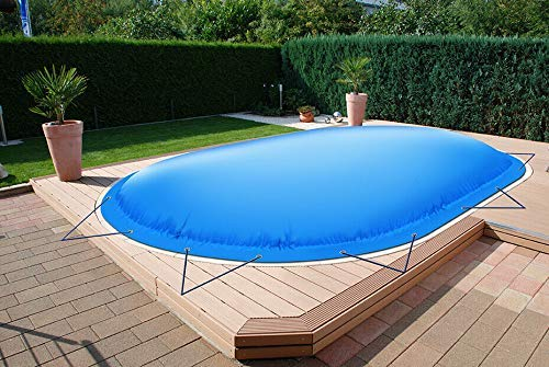 ! (Profi-Qualität) Ovale aufblasbare Poolplanen Schwimmbad Abdeckungen aus LKW-Plane (Elektrische Luftpumpe, Schwarz)