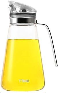 Zhiyangmaoyi 家庭キッチン用 ガラス オイルボトル オイルポット 醤油ボトル 酢ボトル ドレッシング ボトル 漏れ止め 防塵 550ml 白