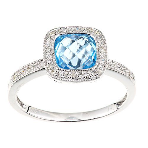 Naava Women's 9 ct White Gold Diamond and Blue Topaz Ring, Square Cut Gemstone, Size - K