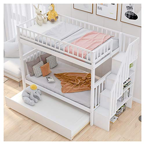 LXZWAN Pine Wood+MDF Removable Twin Over Twin Bunk Bed with Trundle and Storage Suitable for Family Bedroom or Apartment Dormitory No Need for Spring Box-Easy Assembly U.S. Local Delivery