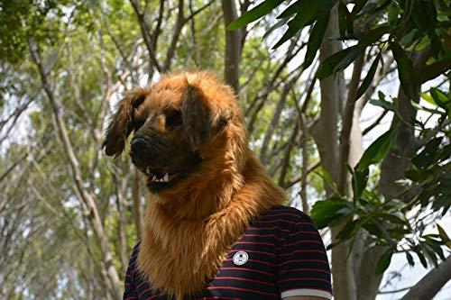 Máscara animal realista Máscara furry Máscara de perro amarillo Máscara de boca móvil Simulación Máscara animal for Halloween Máscaras de fiesta de carnaval animal ( Color : Yellow )