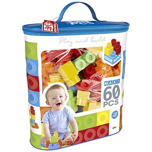 ColorBaby - Bloques construccion niños 60 piezas, Bloques construccion bebe, Juguetes bebes 1 año, Juegos construccion, Bloques gigantes, Bloques juguete, Bolsa piezas de construccion (49277)