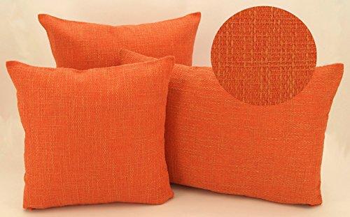 heimtexland edle Kissenhülle meliert mit Struktur in hochwertiger Bouclé Leinen-Optik mit Reißverschluß - in orange 40x40 cm - Kissen Typ314