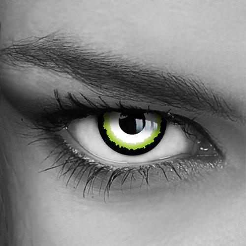 Motivlinsen - Kontaktlinsen farbig - Green Illusion (H-05) - Crazy Fun Helloween Party - Markenprodukt von LUXDELUX®