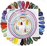 ZMYY Kit de iniciación de bordado con 50 colores de hilo de bordado, 5 aros de plástico y otras herramientas necesarias, pulseras de la amistad, hilo de manualidades