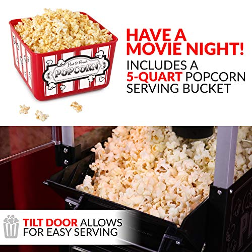 Product Image 7: Nostalgia KPM220CTBK 2.5 oz Professional Popcorn & Concession Cart with 5 quart Bowl, 45″ Tall, Makes 10 Cups, with Kernel & Oil Measuring Spoons & Scoop, 11″ Wheels for Easy Mobility, Black