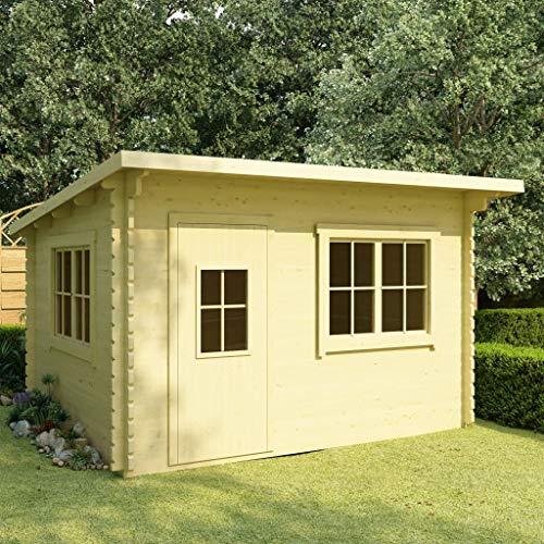 SKM Log Cabin with Floor 44 mm 400x300x236 cm Solid Pinewood