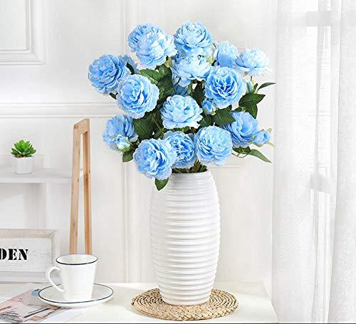 ZHONGLONGZHONG simulatie pioenroos vervalste bloem huis woonkamer decoratie droge bloem tafeldecoratie roze boeket tak bruiloft vaas bloemensieraad (met bekken) 8 blauw + madeliefvaas