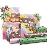 Larcenciel Geschenkpapier Set, 3 Blatt Glänzendes Geschenkpapier mit 4 Rollen Band + 4 Blatt Aufkleber Glitzer-Geschenkpapier Geschenkverpackung Papier für Geburtstag Hochzeit (300 x 42 cm)