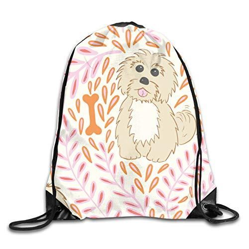 Nother My Havanese Dog - Mochila con cordón, diseño de perro de color rosa y naranja