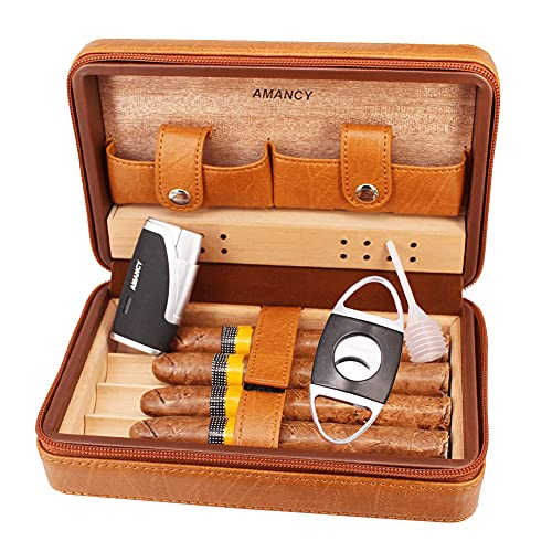 AMANCY Exquisite Brown Leather Travel Cedar Wood Lined 4 Cigar Humidor Case Bag with Cutter and Lighter