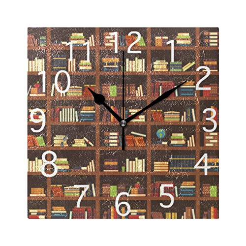 Love Animal Wall Clocks Old Library Bookshelf Best Silent Non Ticking Digital Wall Clock Battery Operated Square Clocks for Kids Kitchen Bathroom Living Room Decorative School Home Bedroom Office
