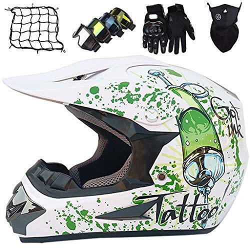 Conjunto de Cascos Moto para Niño 5~16 Años, Casco de Motocross Adulto & Jóvenes, Casco Integral MTB ATV Go-Kart Dirt Bike con Guantes/Gafas/Máscara/Red de Bungy (5 piezas), Blanco