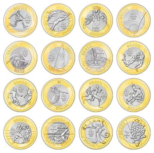 Moedas Comemorativas Olimpíadas Brasil Rio 2016 - Coleção Completa 16 Moedas Colecionáveis