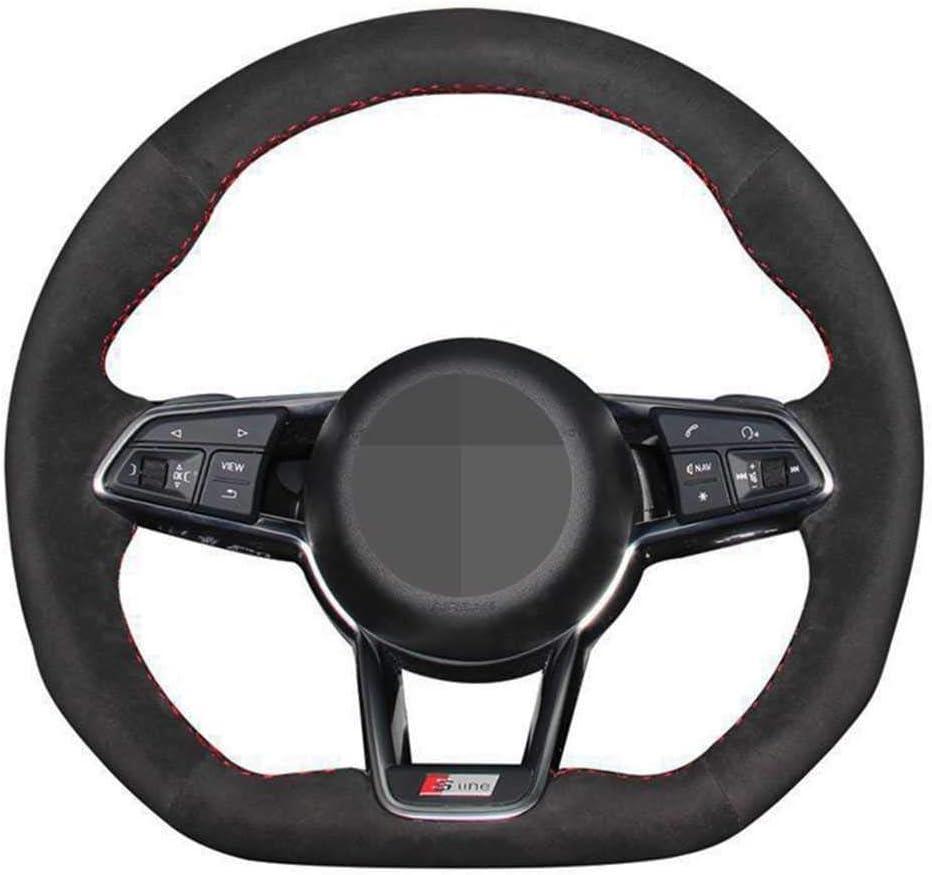 SAXTZDS Car DIY Black Leather overseas Suede Cover Wheel Fit fo Elegant Steering