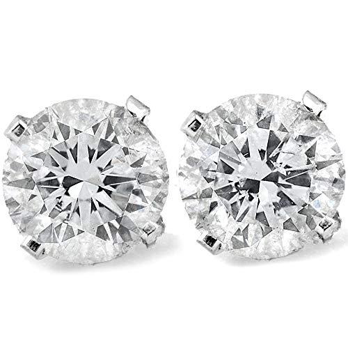 1 Ct TDW Round Cut 14K White Gold Diamond Studs Earrings IGI Certified