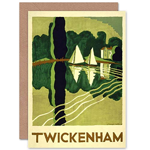 Wee Blauwe Coo TRAVEL TOERISME TWICKENHAM LONDON THAMES Boot RIVER BLANK GREETINGS KAART